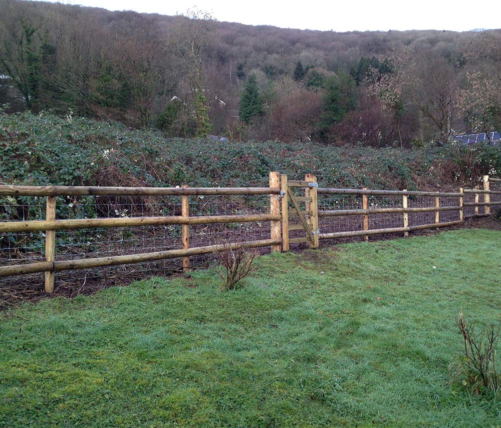 Image of This length of post and rail fencing is one of our jobs in the Wye Valley, Monmouthshire