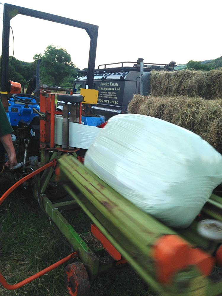 An image of Small bale hay and haylage wrapping can help prevent waste on smaller farms. goes here.