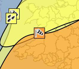 An image of Severe weather warnings for Wales goes here.